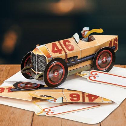 Vintage Race Car Pop Up Greeting Card