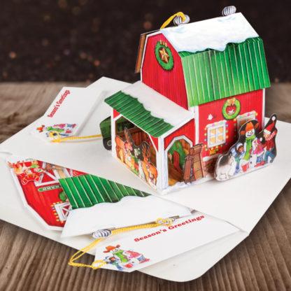 Santa's Barn - Seasons Greetings Pop Up Holiday Card