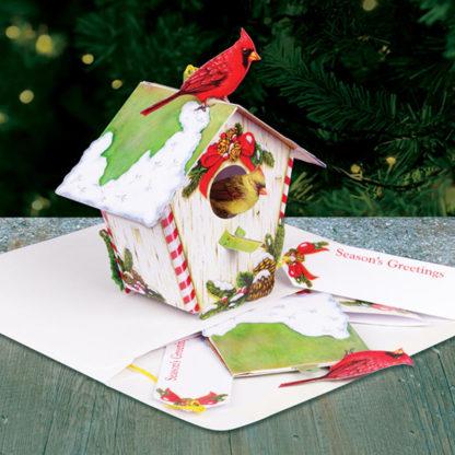 Birdhouse Cardinal Christmas Holiday Pop Up Card