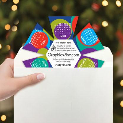 Circles Desktop Pop Up Calendar - Includes Envelope for Mailing