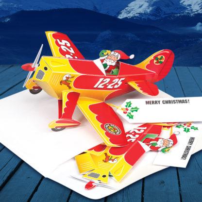 Santa Airplane Biplane Pop Up Christmas Card