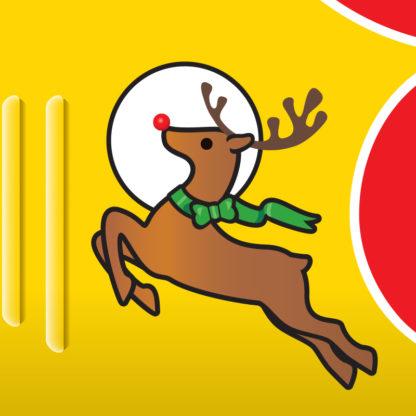 Santa Airplane Biplane Pop Up Christmas Card - Reindeer Emblem