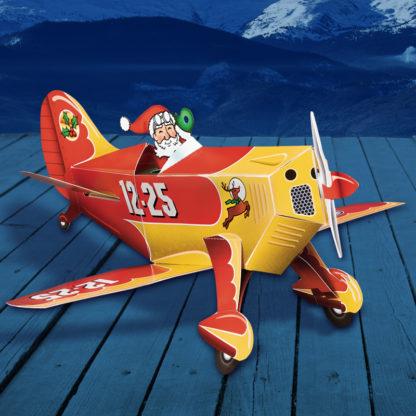 Santa Airplane Biplane Pop Up Christmas Card - Side View