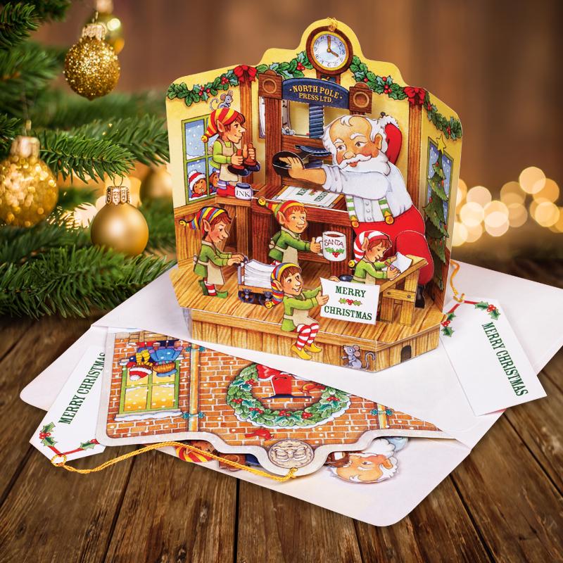 Santa S Print Shop Pop Up Christmas Card Graphics3 Inc