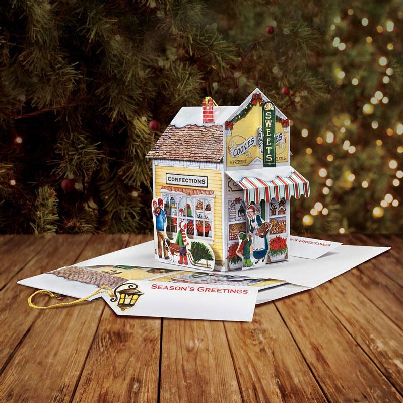 Pop Up Christmas Cards.Sweet Shop Pop Up Christmas Card Ornament