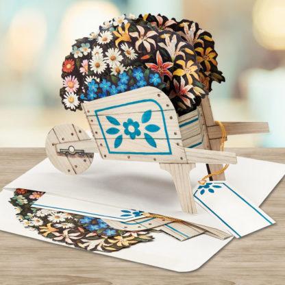 Wheelbarrow Flower Cart Pop Up Greeting Card