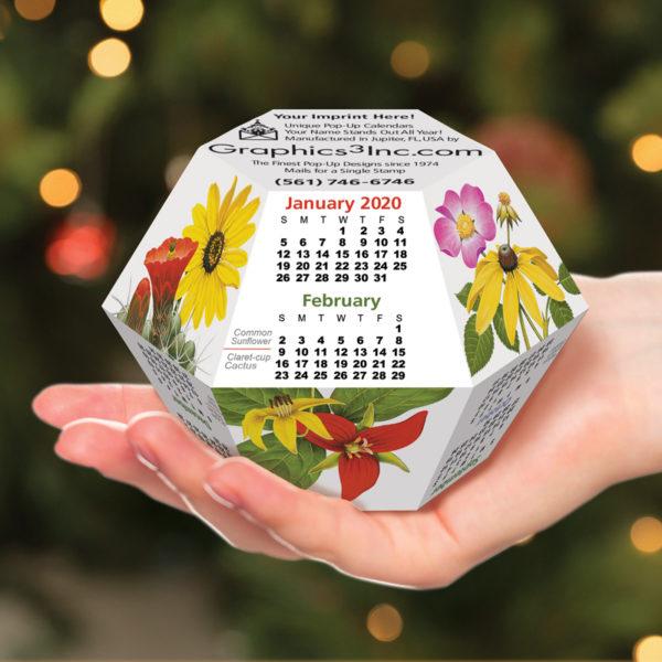 Wildflowers Pop Up 2019 Desktop Calendar for Business